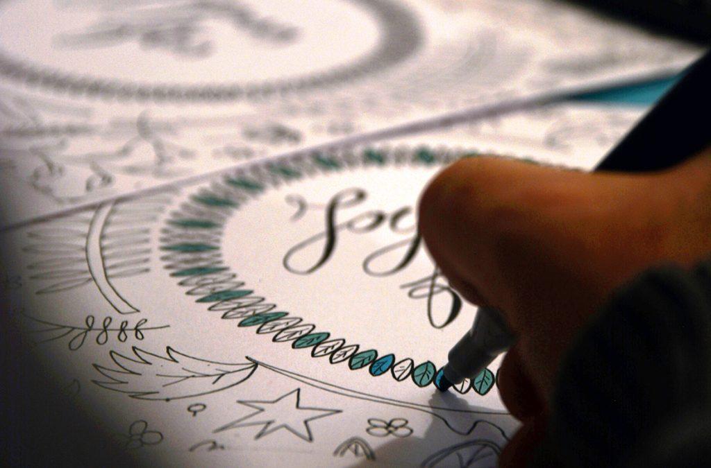 dessin et lettrage pour des cartes de voeux