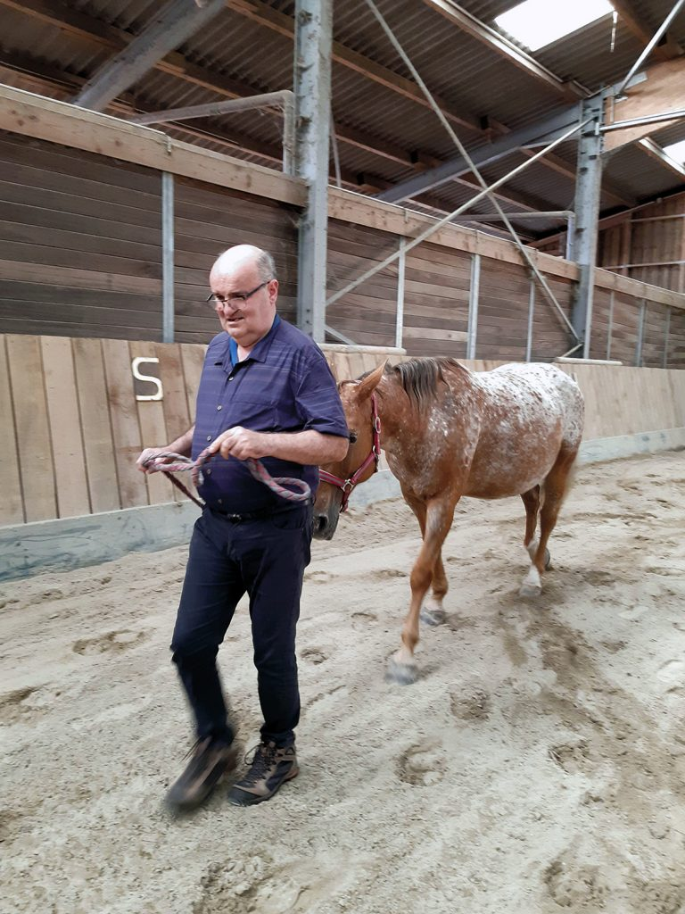 un résident promène son cheval